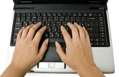 Laptop and hands Stock Photography
