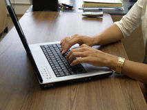 Laptop hands Royalty Free Stock Image