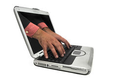 Laptop with hands Stock Images