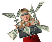 Laptop in hands and fly out dollars Stock Images