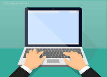 Laptop and hands on the keyboard Royalty Free Stock Photography