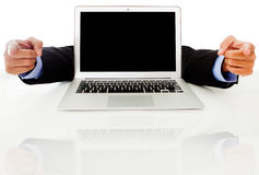 Laptop with hands pointing Royalty Free Stock Photo