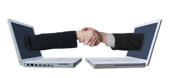 Laptop Handshake 2 Royalty Free Stock Photo