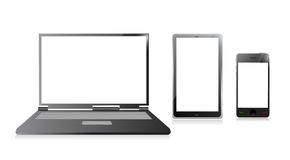 Laptop, Handy und digitaler Tabletten-PC Stockfoto