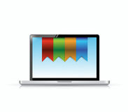 Laptop and hanging banners illustration Royalty Free Stock Photography