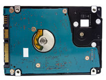 Laptop hard drive used to store information. With a blue textolite Royalty Free Stock Photography