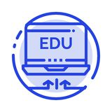 Laptop, Hardware, Arrow, Education Blue Dotted Line Line Icon stock illustration