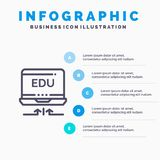 Laptop, Hardware, Arrow, Education Blue Infographics Template 5 Steps. Vector Line Icon template stock illustration