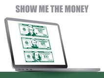 This laptop has stylized bills in high contrast style stock image