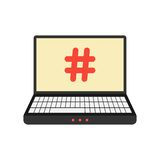 Laptop with hashtag icon on screen. Isolated on white background. concept of social media, number sign and on-line communication. flat style modern design Stock Image