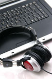 Laptop, headphones Royalty Free Stock Photography