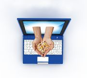 Laptop and health Royalty Free Stock Photos