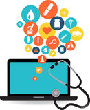 Laptop and healthcare application icon set. Laptop with Blue screen with colorful medical application icons. Health medical icons collection Royalty Free Stock Photos