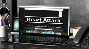 Laptop with Heart Attack information on screen Stock Photography