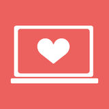 Laptop with heart icon in flat style Royalty Free Stock Image