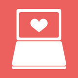 Laptop with heart icon in flat style. Vector illustration EPS10 Stock Photo