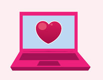 Laptop Heart Royalty Free Stock Photography