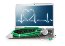Laptop with heart rhythm ekg on screen. And stethoscope Stock Photos