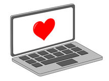 Laptop with heart Royalty Free Stock Photography