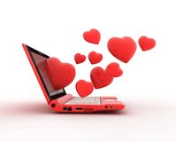 Laptop and hearts Royalty Free Stock Photos