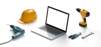 Laptop, helmet, drill and construction tools Stock Image
