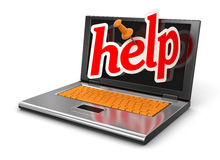 Laptop and Help (clipping path included) Stock Image
