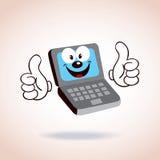 Laptop het karakter van het mascottebeeldverhaal Stock Afbeelding