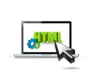 Laptop het ontwerp van de de toegangsillustratie van HTML Stock Foto