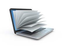 Laptop het scherm als blocnote of boek royalty-vrije illustratie