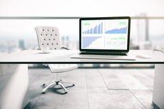 Laptop het scherm met bedrijfsgrafieken Stock Afbeelding