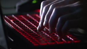 Laptop. Hiding his face, suspect, crook, criminal. stock video footage