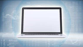 Laptop on high-tech blue background Royalty Free Stock Image
