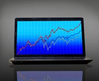 Laptop with higher graph Stock Photography