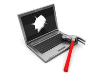 Laptop with hole in screen Royalty Free Stock Photo