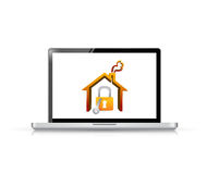 Laptop and home security illustration Stock Photo