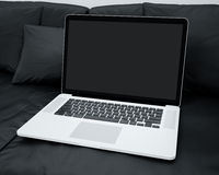 Laptop In A Home Setting. Laptop In An Home Setting Ready For Your Own Screen Photo Royalty Free Stock Photos