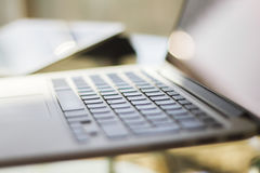 Laptop at home, shallow depth of field Stock Image