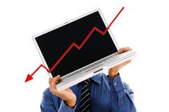 Laptop HoofdRecessie royalty-vrije stock afbeelding