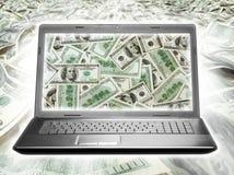 Laptop hoogtepunt van dollars Stock Afbeeldingen