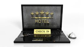 Laptop with hotels reception items Royalty Free Stock Images