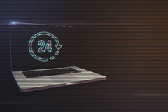 Laptop with 24 Hours Icon. On Light Motion Background and Lens Flare - Digital 3d Effect Style Color Stock Photography