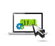 Laptop html access illustration design. Over a white background Stock Photo