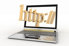Laptop and http word Royalty Free Stock Images