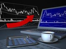 Laptop i ceny mapa Zdjęcia Stock