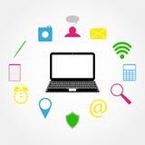 Laptop i ikony Zdjęcie Stock