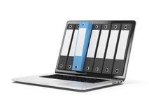 Laptop i kartoteki Obraz Stock