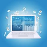 Laptop i wykresy Zdjęcie Royalty Free