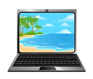 Laptop icon. With summer beach on a white background Stock Images