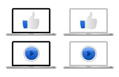 Laptop with icon. Laptops with thumb up and play icons on screen. Vector available Royalty Free Stock Photography