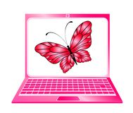 Laptop icon with butterfly Stock Photos